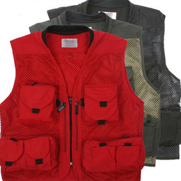 Wholesale V Cameras - Wholesale-Hot Sale New Mens Mesh Photography Camera Photo Fishing Hiking Camping Vest Jacket Waistcoat 531038