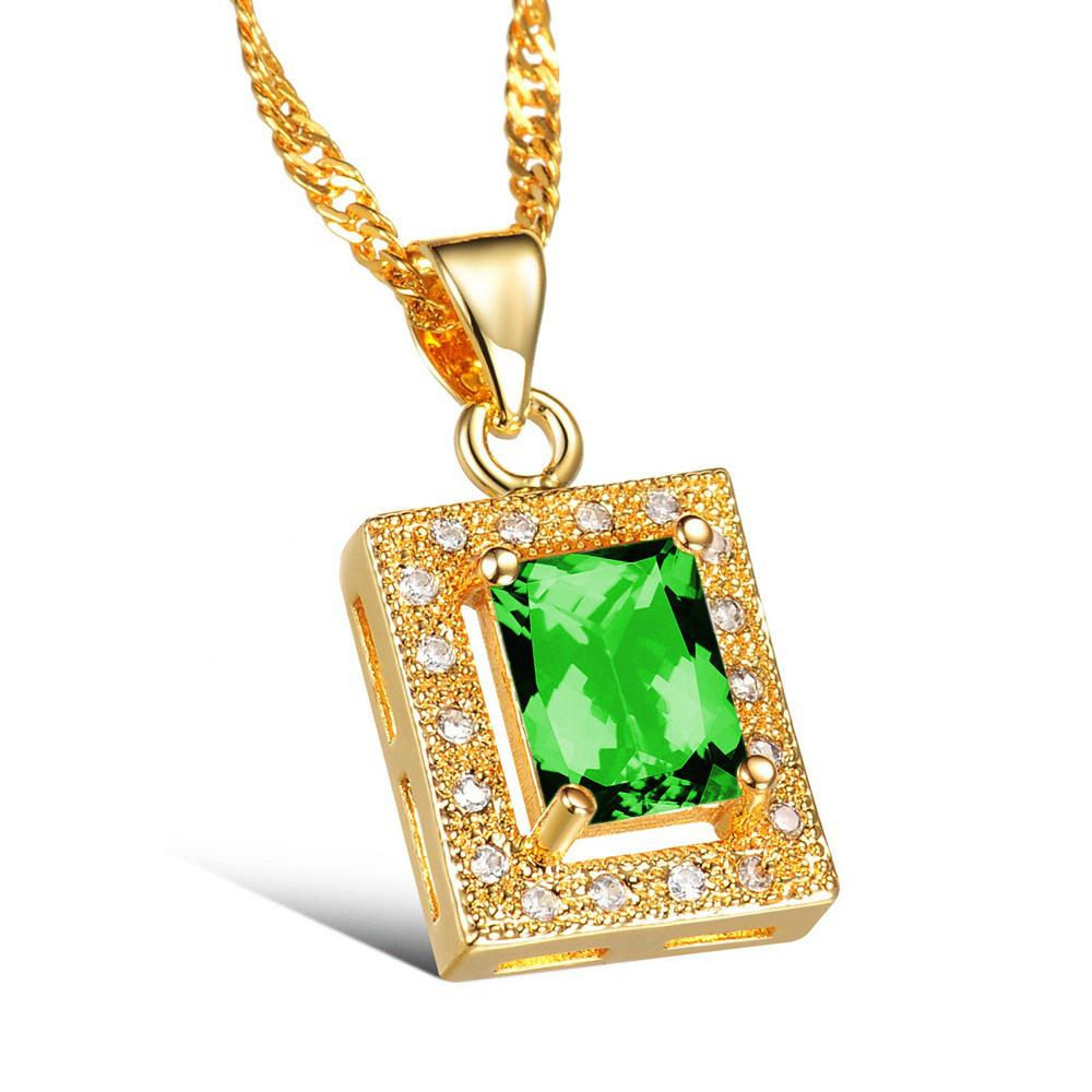 Stone pendant designs gold online white stone gold pendant designs 2016maikun simple square design white green crystal stone women necklace fashion luxury 18k gold plated pendant jewelry mozeypictures Images