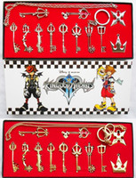 Wholesale Kingdom Hearts Keyblade Wholesaler - Kingdom Hearts 2 II Keyblade Keychain Pendant Necklace Set Box 12pcs Collection