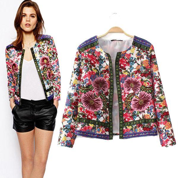 Wholesale-New Fashion Women Ethnic Style Jacket Embroidered Jacquard Cardigans Coat A550
