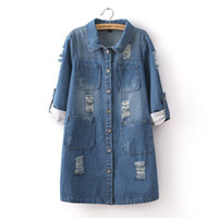 Wholesale Women Jean Coat - Wholesale-Fashion Cowboy Vintage Hole Women Long Jacket Coat Denim Size M,L Blue Jean Outwear Female
