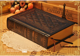 Discount notebook hardcover - Wholesale- Gospel of Love Notepad Retro Handmade Embossment Hard Cover Notebook Embossed Vintage Blank Kraft Paper Diary