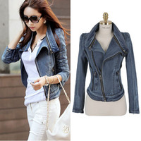 Wholesale Jeans Jacket Cool - Wholesale-2015 Vintage Fashion Slim Women Motorcycle Jeans Jacket Cool Trend All-match High Street England Style Casual Ladies Retro Coat