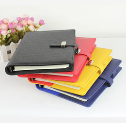 Wholesale A5 Book - Wholesale-Office supply spiral note book diary 2015 korean stationery ring binder A5 leather notebook agenda planner organizer caderno