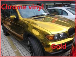 Wholesale Vinyl Wrap Gold Film - Wholesale-1 pc 1.52*0.5M Gold chrome vinyl film with bubble free chrome car wrap chrome car sticker Free Shipping