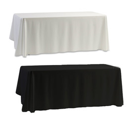 Wholesale Wholesale Wedding Tablecloth - Wholesale-Tablecloth Table Cover White & Black for Banquet Wedding Party Decor 145x145cm
