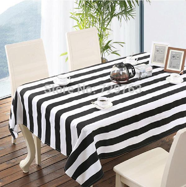 Wholesale Black And White Striped Tablecloth Dining Table Cloth Cover  Tablecloths Fashion Classic Home Decor 130