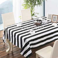 Polyester / Cotton square white dining tables - Black And White Striped Tablecloth Dining Table Cloth Cover Tablecloths Fashion Classic Home Decor cm