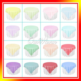 "Wholesale Tables 72 - Wholesale-10PCS LOT Organza Tablecloth Overlay 180cmx180cm (72""X72"") SquareTop Table Decorations Wedding Party Supply Multi-Colors"