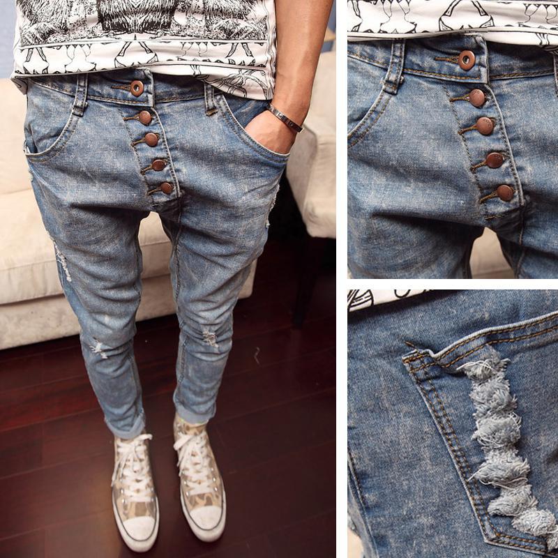 2018 Wholesale Torn Jeans Buttons Drop Crotch Pants Men ...