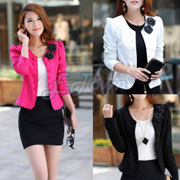 Wholesale Pink Coat Double Breasted - Wholesale-2015 New autumn slim women double breasted short design cardigan blazer laday short jacket woman coat plus size SV07 SV006099