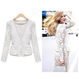 Wholesale Ol Black Suit - Wholesale-2015 New Women Lace Shrugs Ladies Formal Slim OL Formal Coat Jacket Blazer Suit Top Outwear Black White B16 SV007037