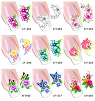 Wholesale Decal Water Tranfer Nail Sticker - Wholesale-60Sheets XF1001-XF1060 Nail Art Water Tranfer Sticker Nails Beauty Wraps Foil Polish Decals Temporary Tattoos Watermark