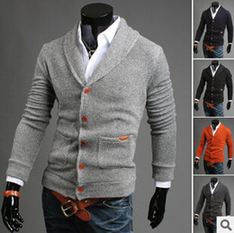 Wholesale Hand Knitting Clothing - Wholesale-2015 New Autumn Winter Mens Thick Formal Cardigans Casual Sweaters Warm Jumper Camisola Masculinas Clothing Plus Size 2XL 170B