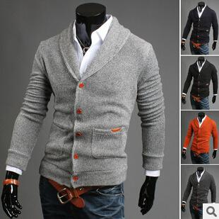 best selling Wholesale-2015 New Autumn Winter Mens Thick Formal Cardigans Casual Sweaters Warm Jumper Camisola Masculinas Clothing Plus Size 2XL 170B