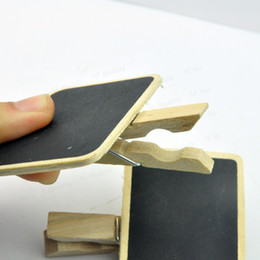 Wholesale Mini Pegs Wooden - Wholesale-15x mixed high quality mini wooden blackboard chalkboard clip peg signs scrapbooking crafts for wedding Free Shipping #LR395