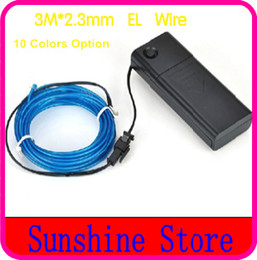 Wholesale Wholesale Rope Lights For Cars - Wholesale-Free Shipping, 3M*2.3MM Flexible Neon Light Glow EL Wire Tube Rope For Car  Dance  Party+Controller 10Colors Option