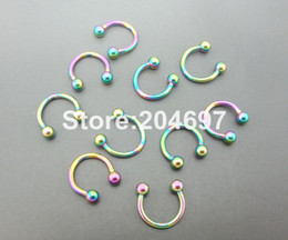 Wholesale Cbr Steel - Wholesale-100pcs 1.2*8*3mm Titanium Anodized Stainless Steel CBR Horseshoe Piercing Rainbow Circular Barbells Balls Nose Ring Body Jewelry