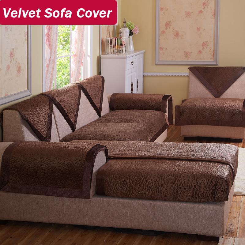 Wholesale velvet fabric sofa brown decorative sofas covers double