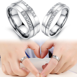 Wholesale Titanium Rings For Women Cheap - 2016Lovers' Stainless Steel rings for Wedding Fashion Crystal Stone Women Men Rings Jewelry Cheap Price free shipping