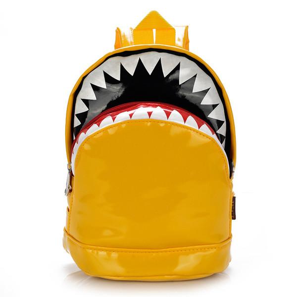 Atacado-quente! Saco de Ombro Duplo das crianças Moda Coreano Bonito Dos Desenhos Animados Tubarão Saco de Lazer Mochila Infantário Do Berçário Do Jardim de Infância Animal