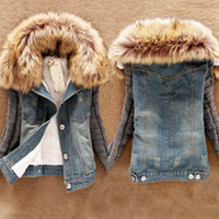 Wholesale Suede Jacket Fur Collar - Wholesale-2015 Casacos Femininos Inverno Winter Women Jean Coat Suede Lining Detachable Fur Collar Jaquetas Jackets Free Shipping WWJ064