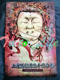 Wholesale Tattoo Book Flash Flowers - Wholesale-Free Shipping 2015 New Japanese Style Tattoo Flash Reference Book Hannya Skull Ghost Buddha Flower Dragon Outer Contour Line