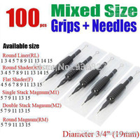 """Wholesale Suited Tube Grips - Wholesale- 100 x Disposable Tattoo Grips Tube with Suited Needles Assorted Mixed Size 3 4"""" (19mm) free shipping"""
