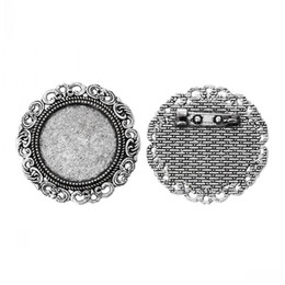 Wholesale Cameo Brooch Settings - Cameo Frame Setting Brooches Findings Round Antique Silver Cabochon Settings(Fit 25.0mm)Flower Pattern 3.9cm,10 PCs