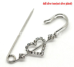 "Wholesale Safety Pins Wholesale Free Shipping - Free Shipping! Silver Tone Heart Rhinestone Safety Pins Brooches 6.5x2.5cm(2-1 2""x1""), 10PCs (B15168)"