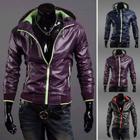 Wholesale Thin Leather Jacket Xxl - Wholesale-Mens Slim Fit Zipper Thin Jackets Stand-up Faux Leather Fashion Coats MLXL XXL #