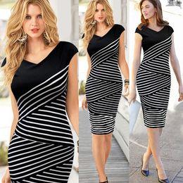 Wholesale Midi Top - Wholesale-Spring New Fashion Women Summer Dress Casual Short Sleeve Top Striped Bodycon Pencil Midi Dresses White Black S- XL #4 SV003903