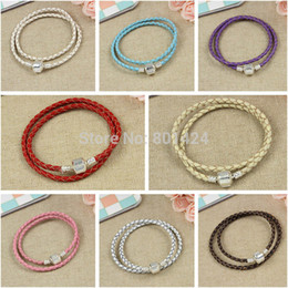 Wholesale Braided Cord Necklaces For Charms - Wholesale One piece Snake Chain Leather Braided Wrist Bracelet necklace Cord Fits for bracelet charm