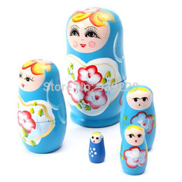 $enCountryForm.capitalKeyWord Canada - Wholesale-5pcs lot New Russian Nesting Matryoshka Dolls Wood Nesting Doll Handpainted Cute Gift Russian Nesting Dolls Free Shipping