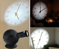 Wholesale Shadow Clock - Wholesale-LED Analogue Projection Wall Clock Cold Light Beam Virtual Shadow Home Bedroom New 95279