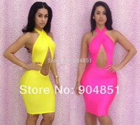 Wholesale Woman Hot Bare - Wholesale-HOT NewBandage Dress Cross Bare Midriff Hollow Candy Color Bodycon Dress Soild Women Sexy Dresses