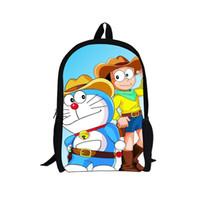 Wholesale Doraemon Backpack - Wholesale-16 Inch 3D Cartoon Doll Doraemon Backpack for Kids Boys Students High School Bags Stylish Cat Print Kids Backpack Child Mochila