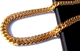 Wholesale Mens 24k Solid Gold Necklace - 2015 Fashion Necklaces Chains Heavy MENS 24K SOLID GOLD FILLED FINISH THICK MIAMI CUBAN LINK NECKLACE CHAIN Free Shipping