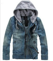 Wholesale Denim Coat Hoodie - Wholesale-Free Shipping 2015 Big Size tops cotton Sport Men's Hoodie Jeans Jacket outerwear hooded Winter coat denim jacket coat # 5853