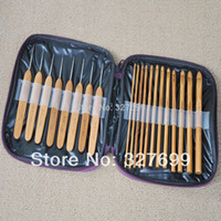 Wholesale Hand Crochet Clothing - Wholesale-Knitting Needle Kits Carbonize Bamboo Crochet Hooks Needles Sets Hand Tool Needlework for Clothing accessory PU bag