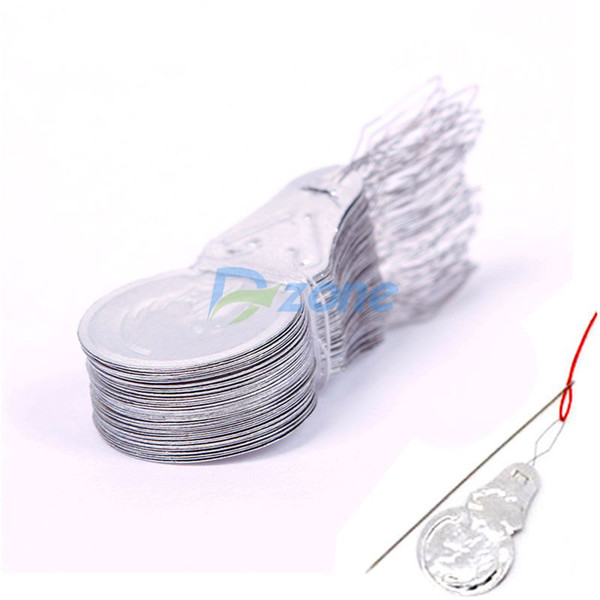 Wholesale-Hot 50Pcs/Lot Bow Wire Needle Threader Stitch Insertion Tool For Hand Machine Sewing#57493