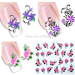 Wholesale Tattoo Stickers For Nails - Wholesale-50pcs New Casual Nail Stickers Temporary Tattoos Water Transfer Decals Wraps Foils Decorations for Nails Toes XF1101-1150