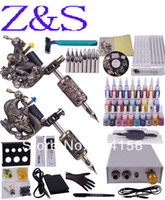 Wholesale Tatoo Gun Needles - Wholesale-Proffesional Tattoo kit with Tatoo gun and needles &28 color tatoo inks much accesaries