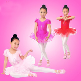 Robes De Lingerie De Danse Pas Cher-Filles-fleurs en gros Ballet Dress For Children Girl Dance Vêtements pour enfants Ballet Costumes pour les filles de danse Justaucorps fille Dancewear 3 Couleur