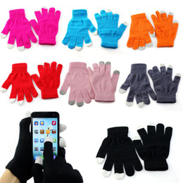 Wholesale Knit Glove Iphone - Wholesale-Men Women Winter Gloves 7 Colors Touch Screen Gloves Texting Winter Knit for Smartphone iphone I9300 Unisex Wrist Gloves Anne