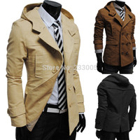 Wholesale mens winter hooded trench coats - Wholesale-New Casaco Masculino 2015 Winter Mens Double Breasted Hoodie Slim Fit Casual Motorcycle Peacoat Trench Coat Men Jacket Overcoat