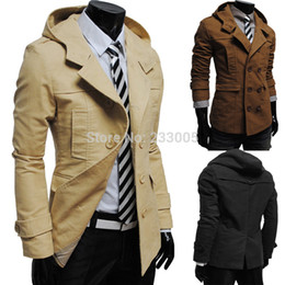 Peacoat Finement Ajusté Pas Cher-Gros-Nouvelle Casaco Masculino 2015 Winter Mens double breasted capuche Slim Fit Casual Motorcycle Peacoat Trench Coat Men Jacket Pardessus