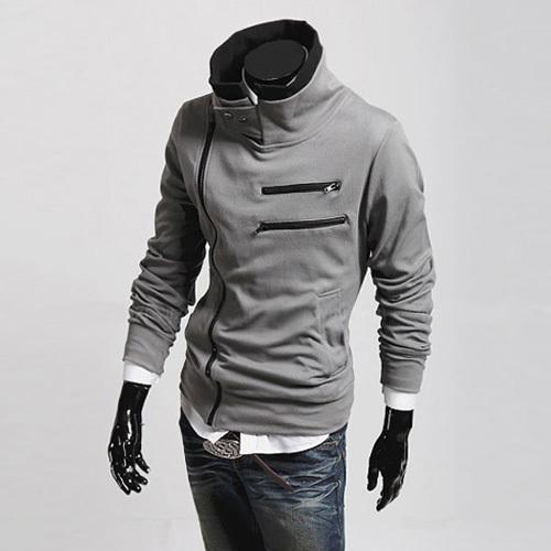 2015 New men's jacket autumn spring stand-up collar pullover men hoodies Inclined zipper warmer black sweatshirt Free shipping