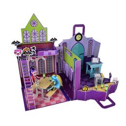 2019 regali ragazze di scuola superiore Trasporto all'ingrosso-Libero nuovo 3D modello di puzzle casa Monster High High School Playset Monster High casa di bambole mobili regalo set ragazza giocattoli sconti regali ragazze di scuola superiore