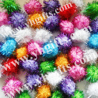 Wholesale Glitter Pompoms - Wholesale-300PCS LOT.4.5cm Glitter pompom,Multicolor pom-pom,Craft material,Christmas ornament,Hat decoration,Freeshipping,Wholesale